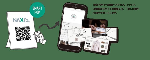 Media Mix Solutions SMART POP 販促POPから動画へアクセス。ナクシスは撮影からサイトの構築まで、一貫した制作体制でサポートします。